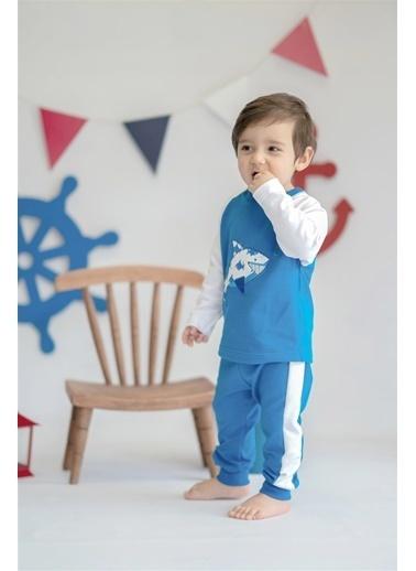 Nila Kids Blue Blossom Organik Erkek Bebek Eşofman Altı Mavi